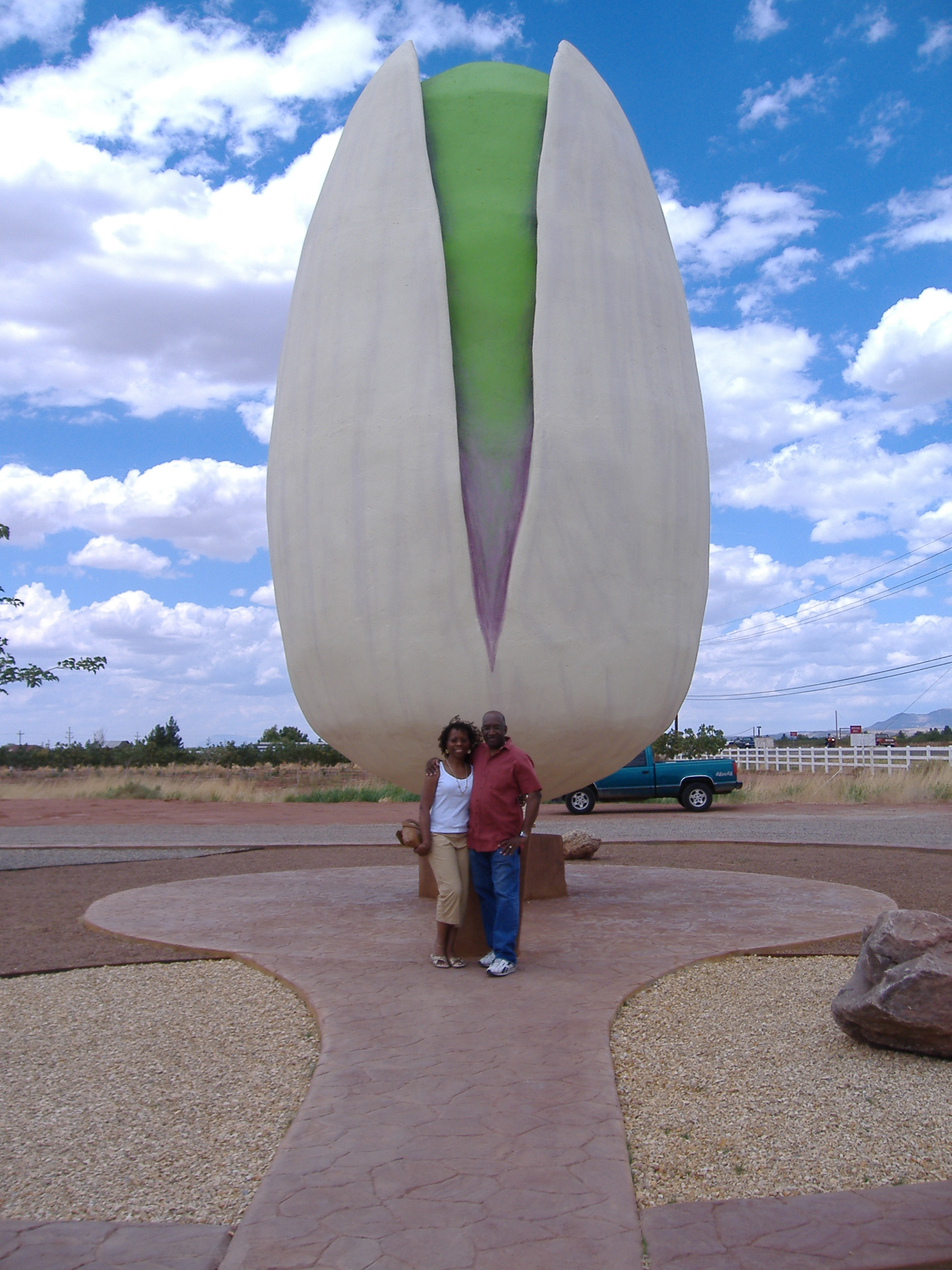 "Choose a location that fits and you, too, can pose In front of the ""World's Largest Pistachio"" at McGinn's Pistachio Tree Ranch in Alamogordo, NM."