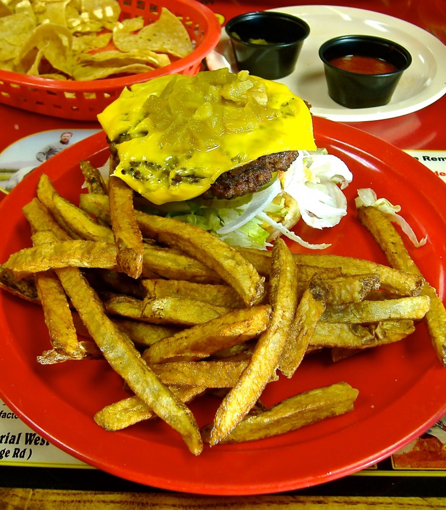 Green chile cheeseburger and fries, Dick's Cafe review.