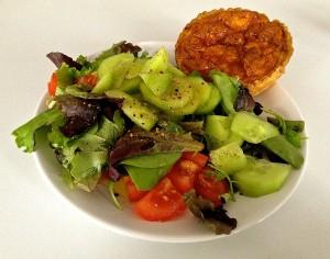 Garden salad with quiche Lorraine from Maison Haimet in Paris.