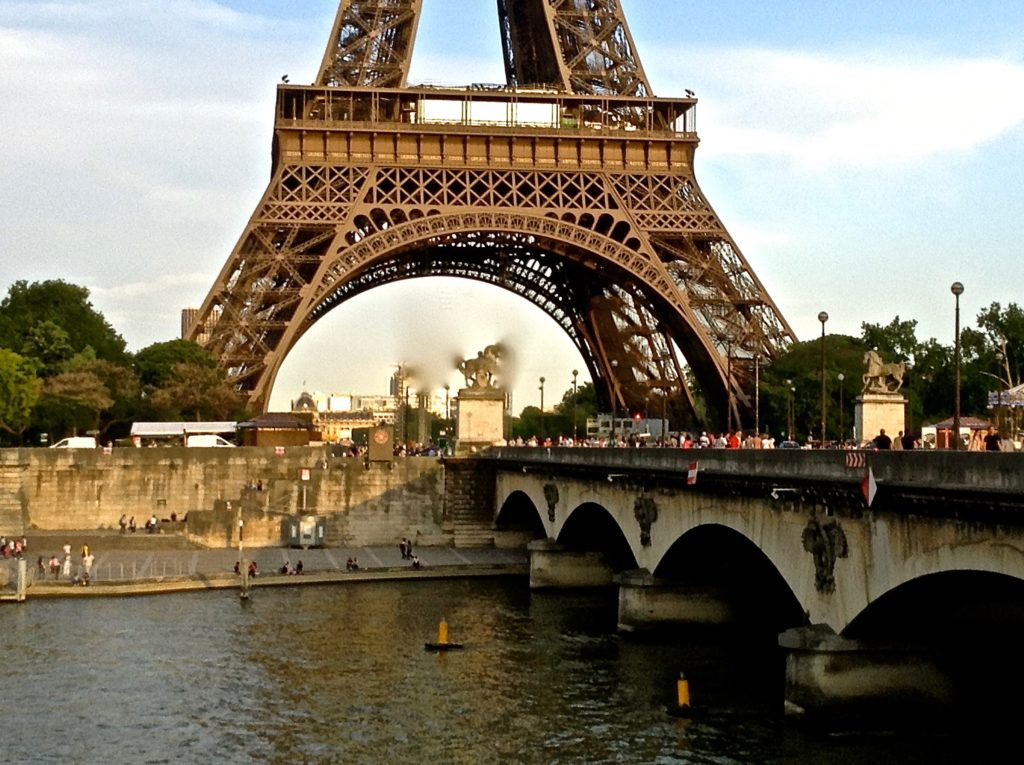 The Eiffel Tower, as viewed from the right bank of the Seine.