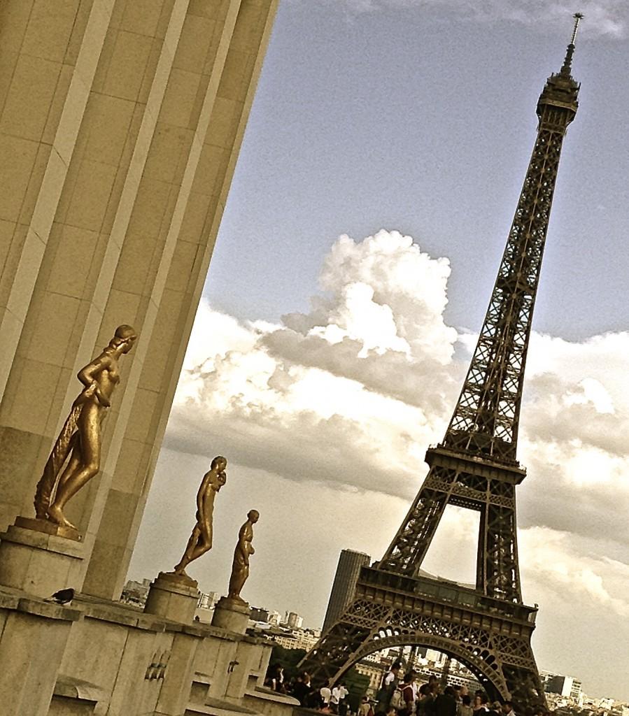 The Eiffel Tower as seen from Esplanade du Trocadéro.