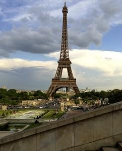 The Eiffel Tower viewed across the Jardins du Trocadéro.