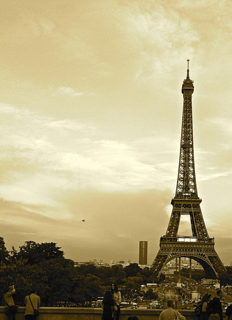 The Eiffel Tower in early evening.
