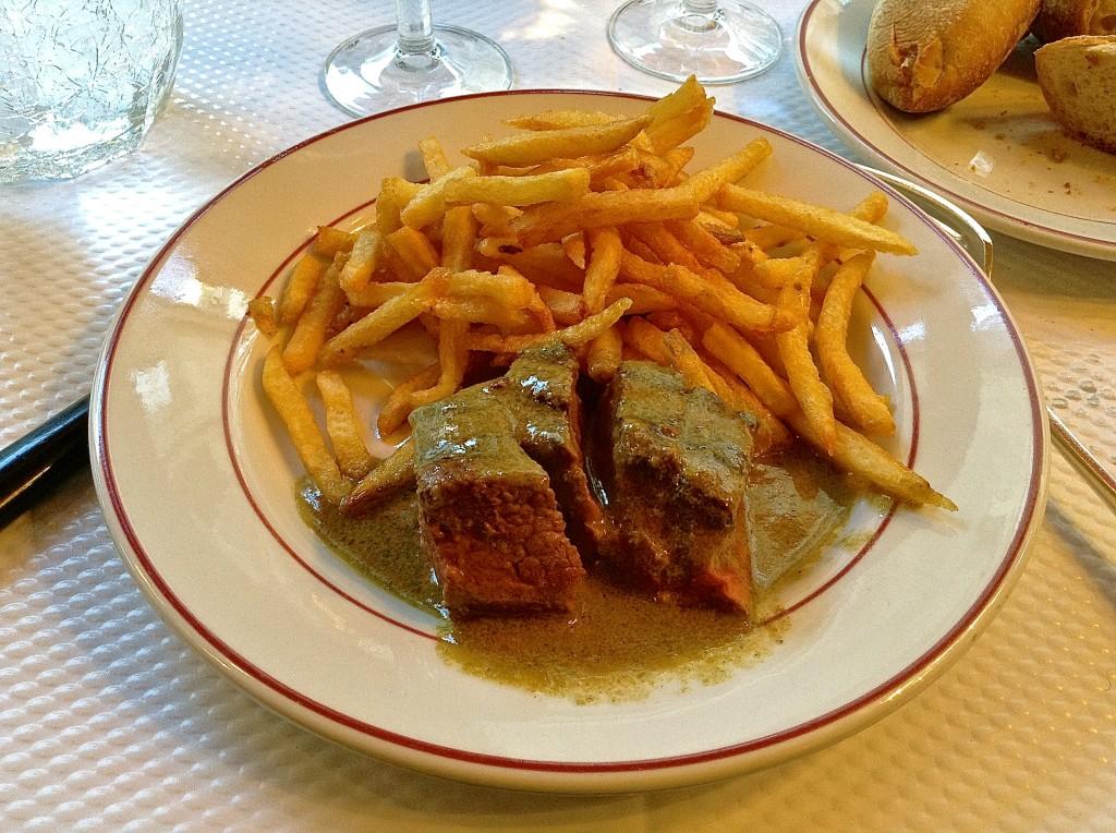Fabulous steak frites Round 1, le Relais de l'Entrecôte in Paris.