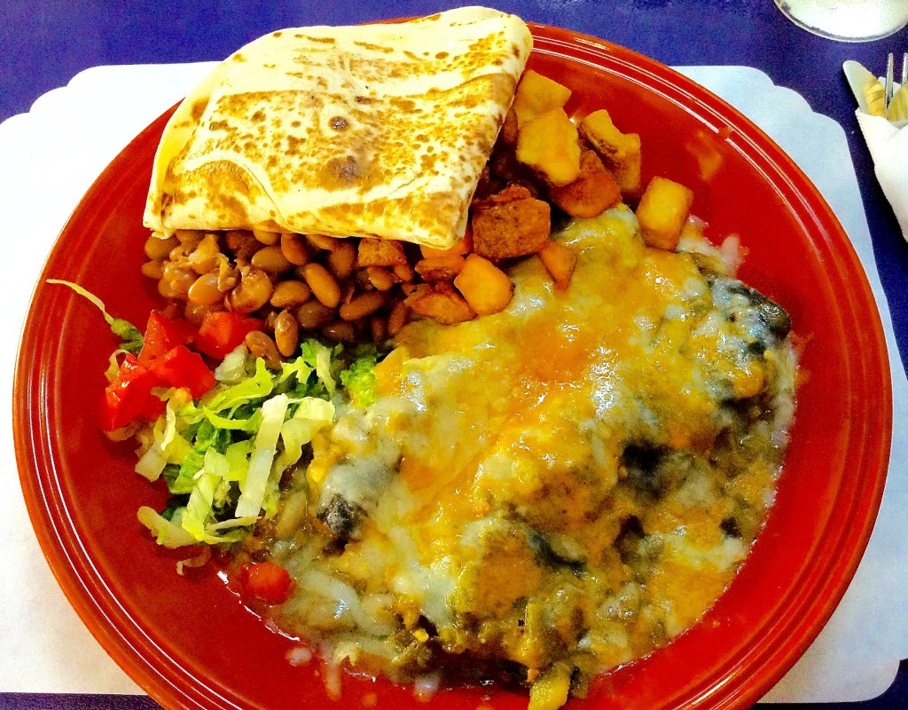 "Breakfast Enchiladas, her ""research topic"" for The Shed in Las Cruces review."