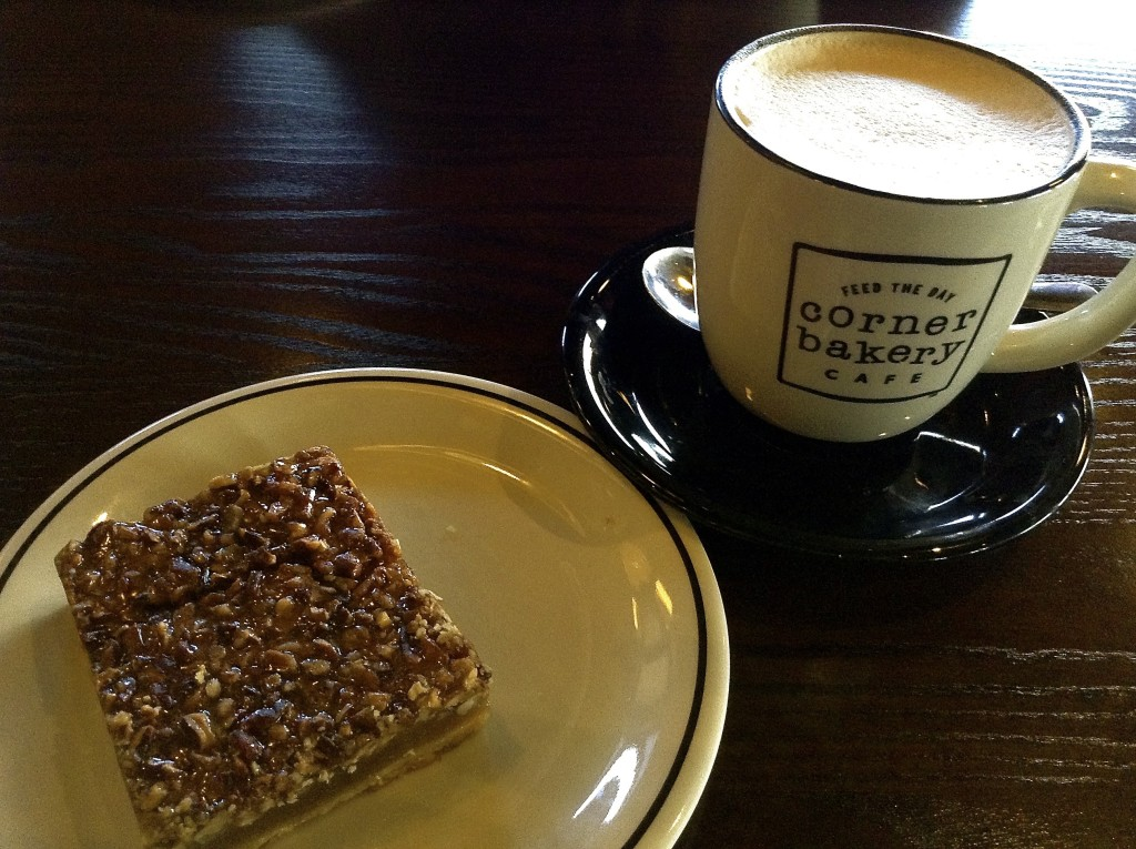 Cappuccino and Maple Pecan Bar, Corner Bakery Cafe in Las Cruces review.