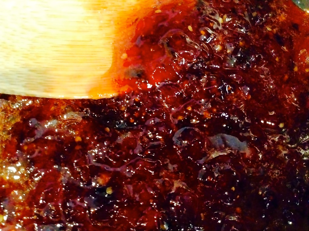 Simmering sweet & spicy strawberry salsa.