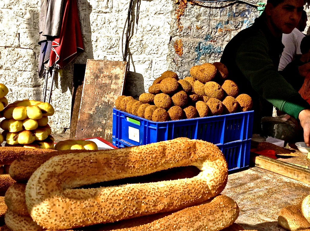Bread and Falafel for Sale in Jerusalem, Israel ~ a top destination whether you're a travel blogger or not.