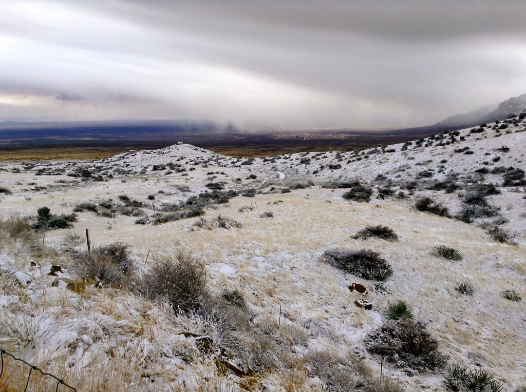 Southward view of the Tularosa Basin with White Sands Missile Range HQ, from the gazebo at San Augustin Pass.