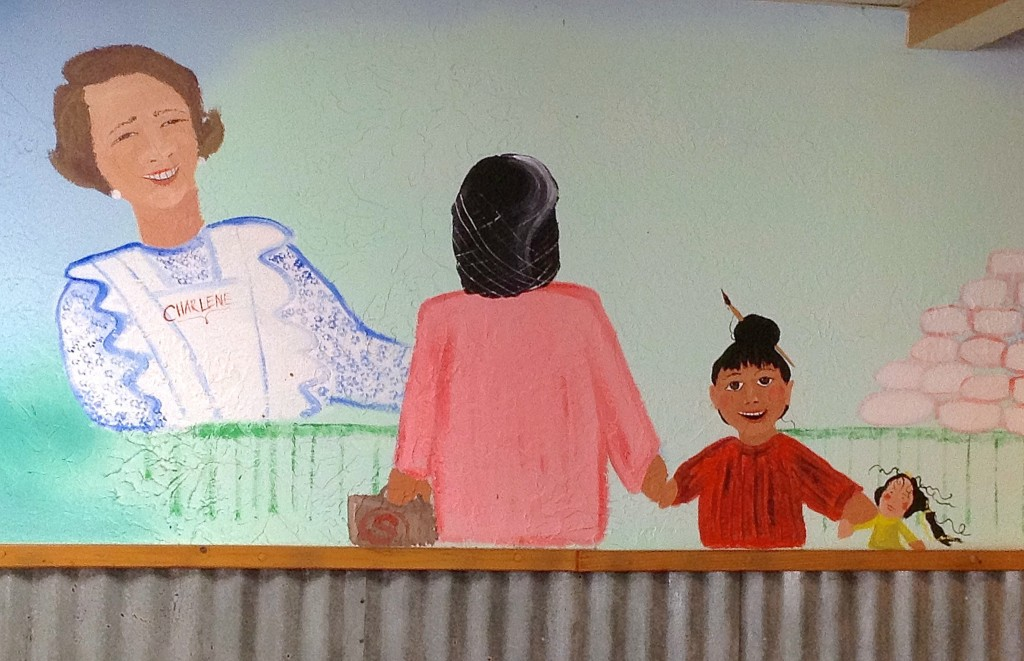 Wall mural depicting Charlene Lee, founder of Day's Hamburgers, Las Cruces' best little burger joint.