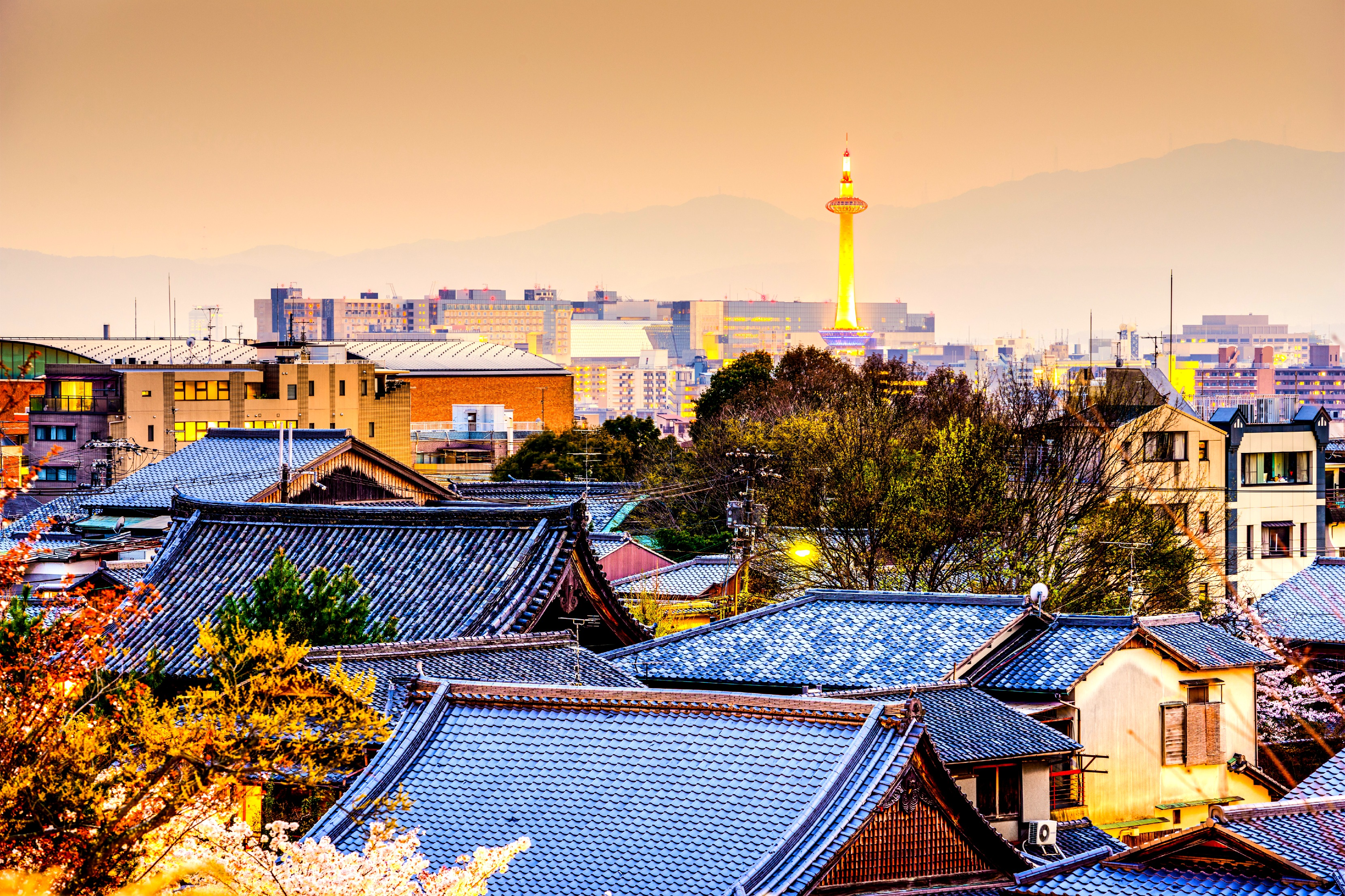 Kyoto, Japan city skyline ~ gorgeous site for your first trip to Japan.
