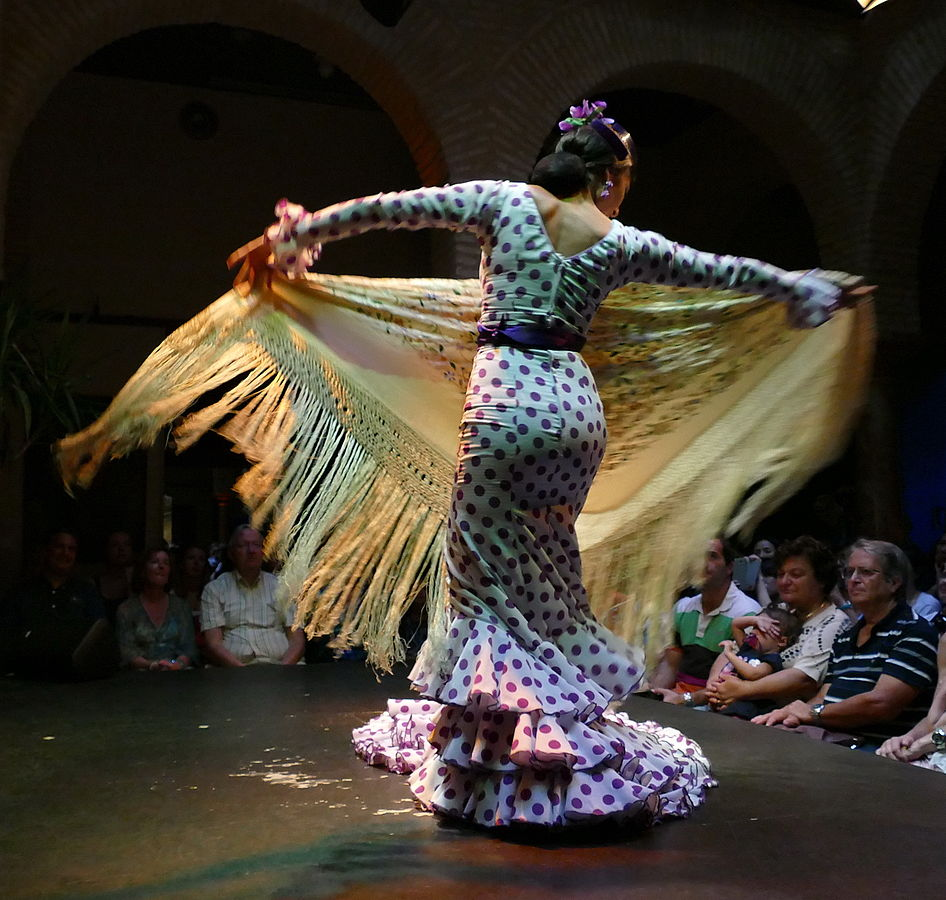 Watching a flamenco artist dance is a creative thing to do in Madrid, even if strictly at night. Flamenco in Sevilla de Schnobby via Wikipedia.