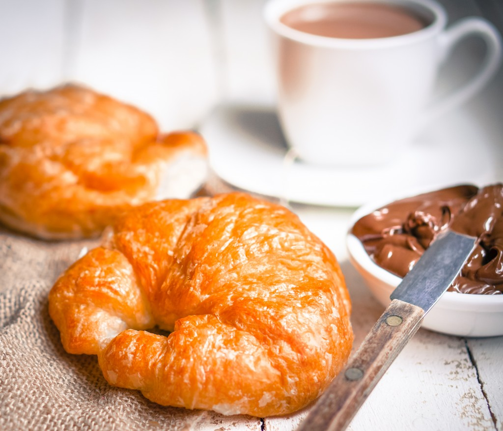 Hot drink with exquisite French pastry: croissants with chocolate cream & hot cocoa, photo by ehaurylik.