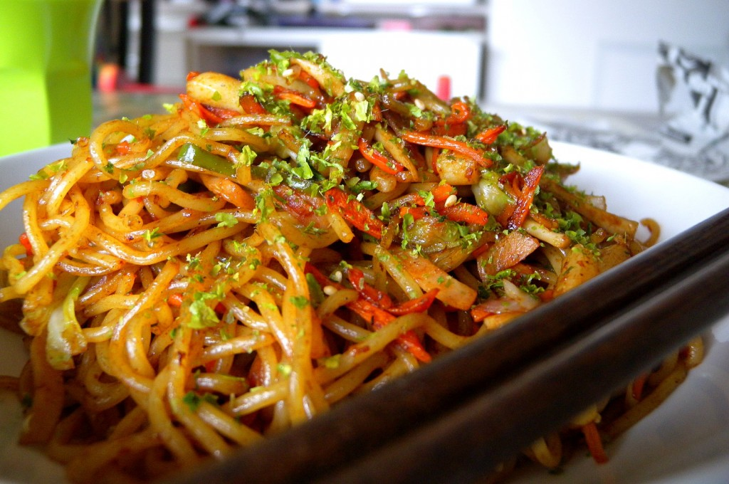 Yakisoba, a Japanese stir-fried noodle dish, by 5th Luna.