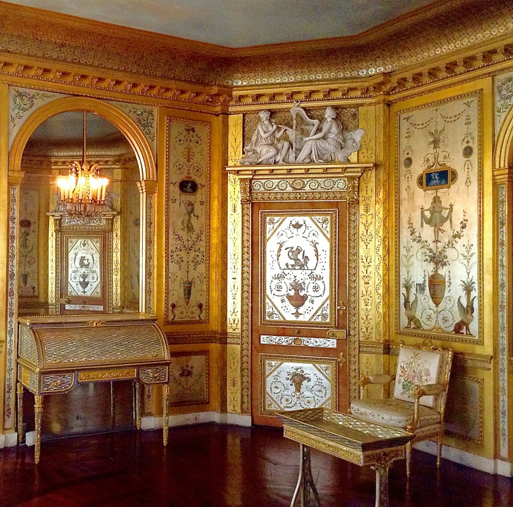 Marie Antoinette's boudoir at Château de Fontainebleau, a former royal residence near Paris off the beaten path.