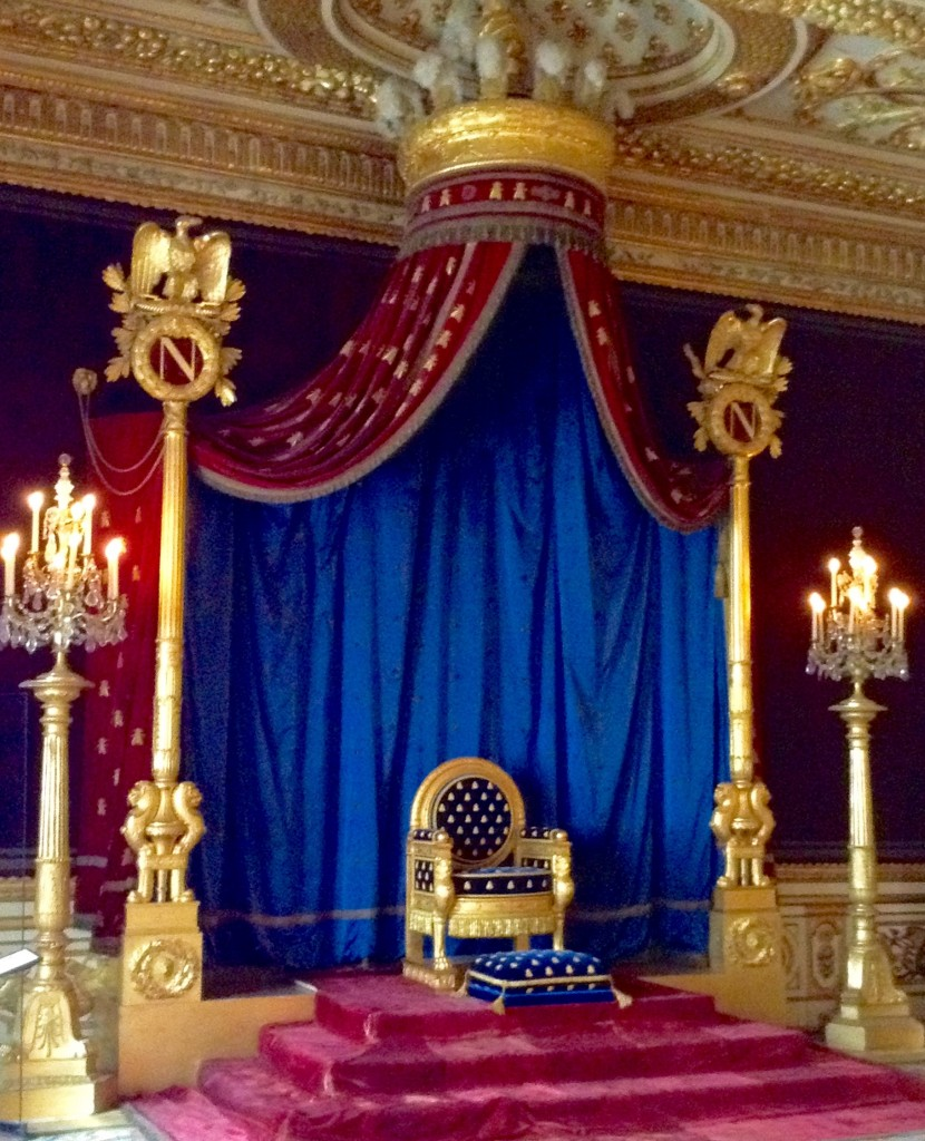 Throne room of Napoleon I at Château de Fontainebleau, a former royal residence near Paris off the beaten path.
