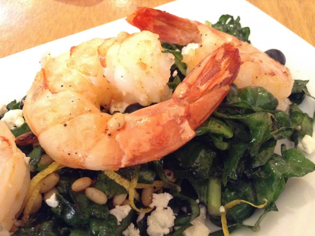 Tre Rosat's Kale, Spinach, & Blueberry Salad with shrimp with pine nuts is a distinctly New Mexican version of New American cuisine.