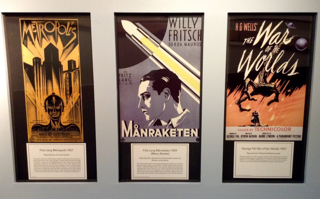 Vintage posters at the International Space Hall of Fame celebrate classic sci-fi movie fun in Alamogordo at the NM Museum of Space History.