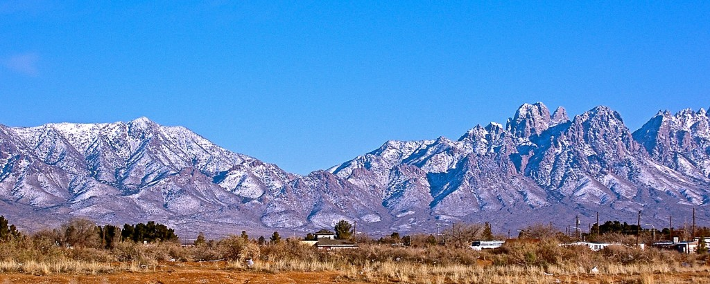 Snow-covered San Andres mountains in southern New Mexico.
