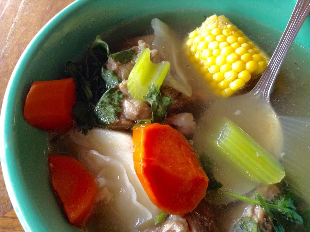 Bowl of caldo de rez, La Nueva Casita Cafe's signature soup.