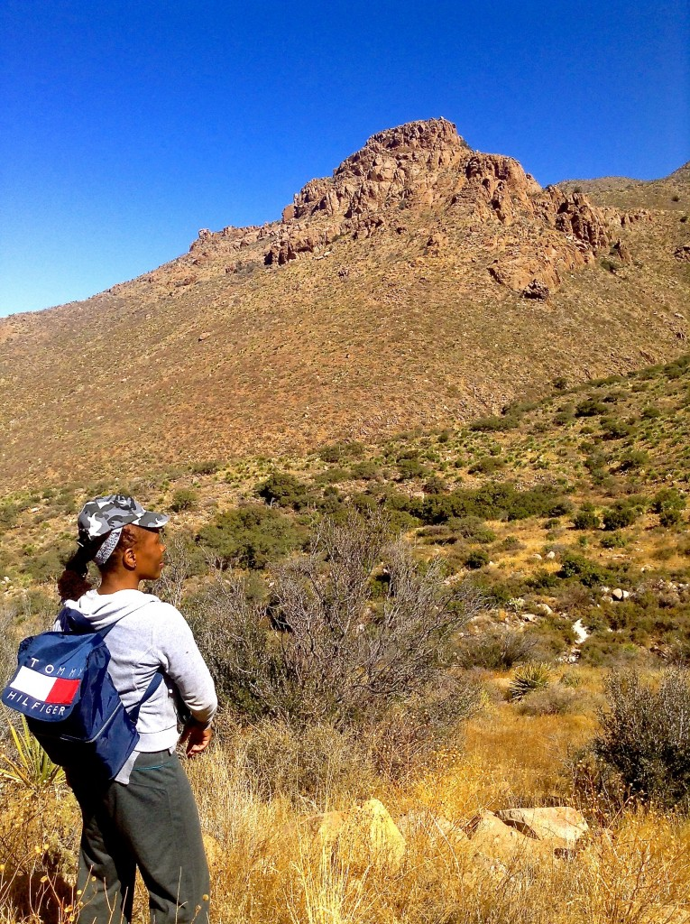 Me (Melodie K) hiking the Baylor Canyon Trail in the Organ Mountains of Southern New Mexico.