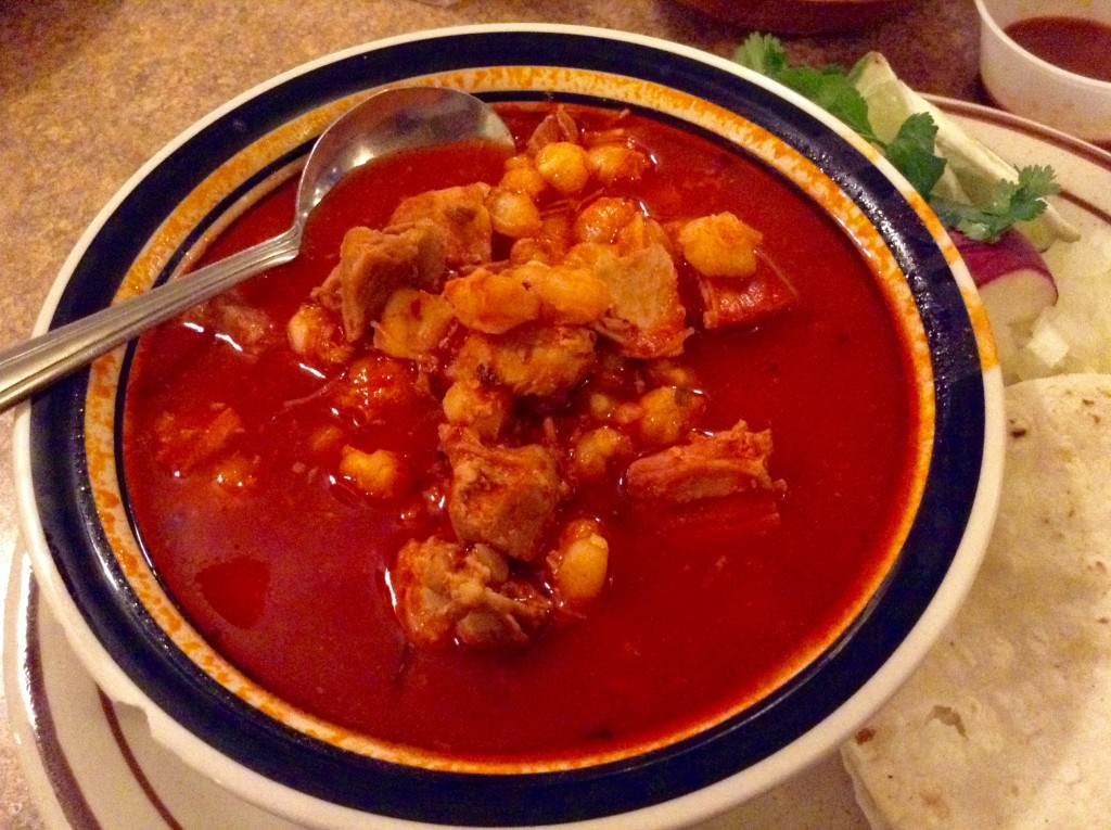 Bowl of posole at ¡Ándele! Restaurante in Las Cruces ~ a stew of red chile, diced pork, and hominy.