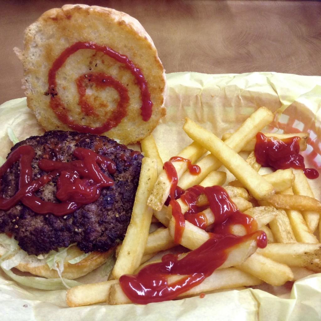 Quarter-pounder and fries, Rockin' BZ Burgers in Alamogordo, NM.
