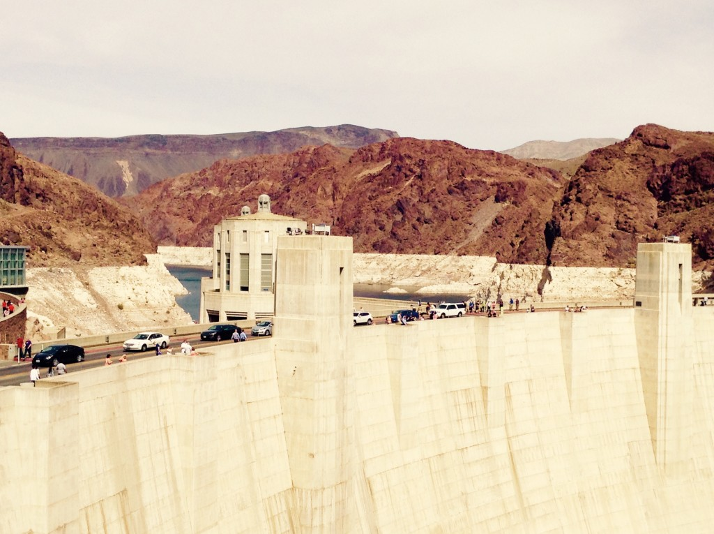 Engineering made easy with the top of Hoover Dam and glimpse of Lake Mead in the background.
