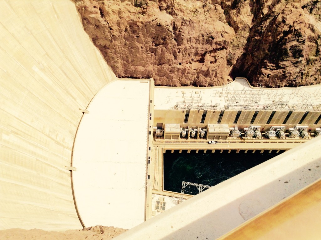 Engineering made easy ~ Hoover Dam, base, Colorado River Side.