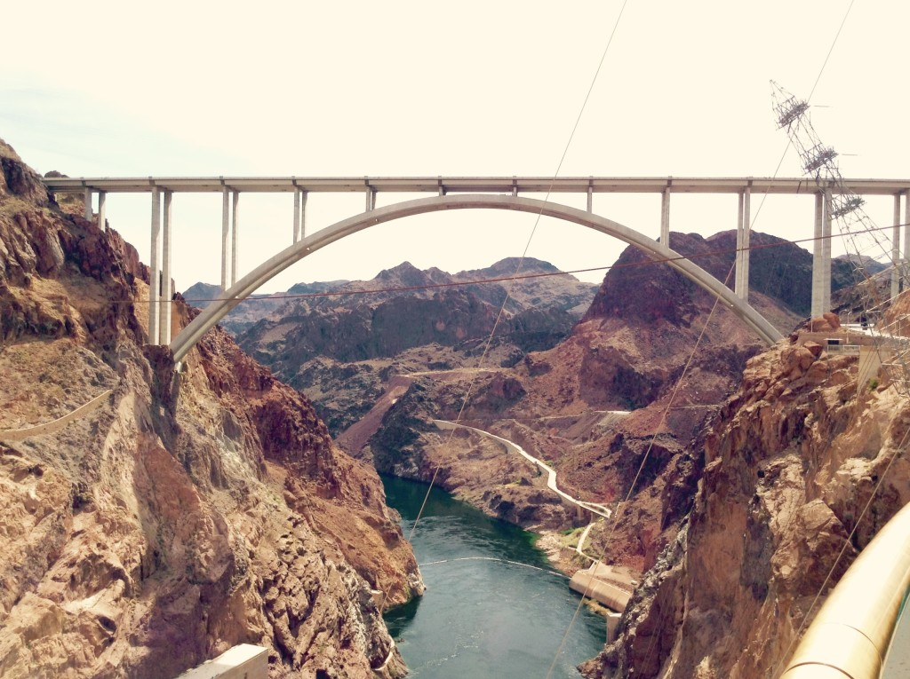 Engineering made easy ~ the Colorado River and Hoover Bridge, from Hoover Dam observation deck.
