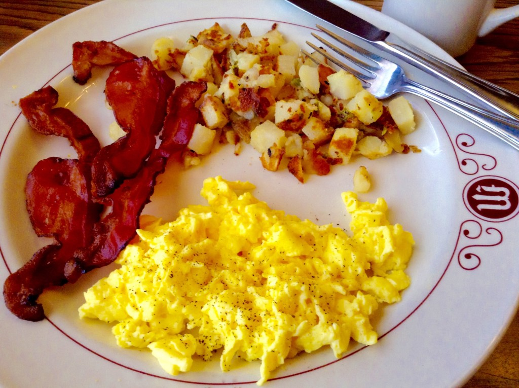 """Compact but choice breakfast at the Mizpah Hotel in Tonopah, NV ~ one of many former """"boom towns"""" you'll pass through on your Southwest travel adventure."""