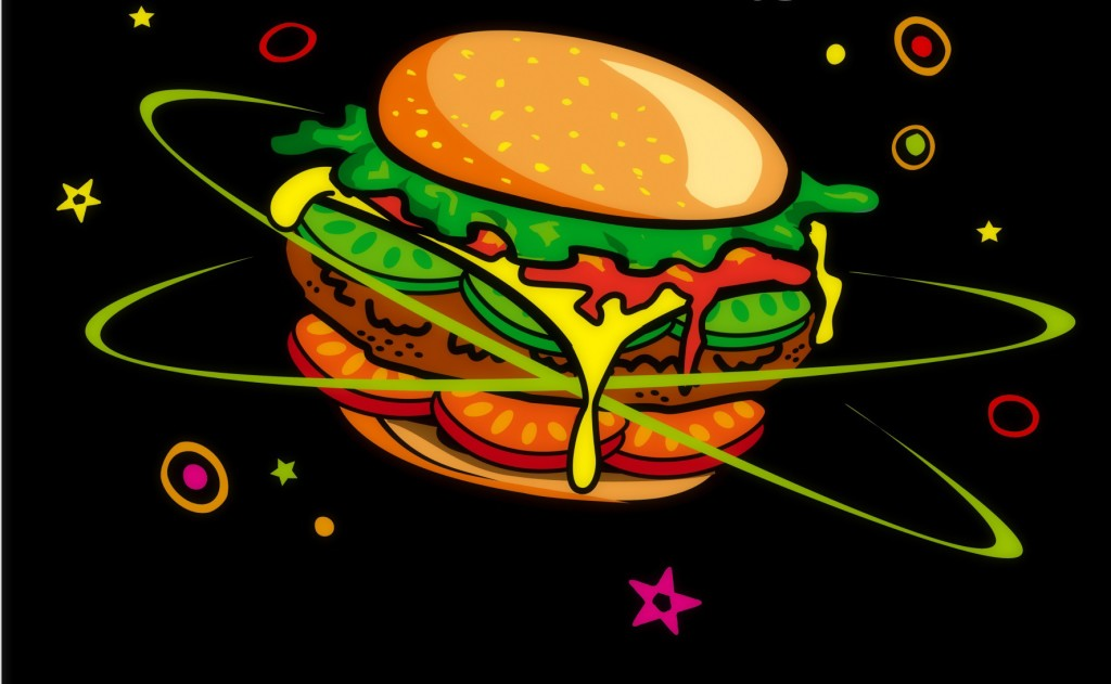 Out of this world travel with hamburger planète monde alimentation by CRB98, cropped.