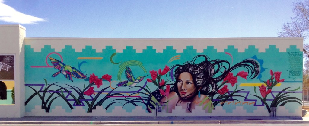 All Between Land and Air by Nani Chacon and JayCee Beyale, beautiful example of Las Cruces Street Art.