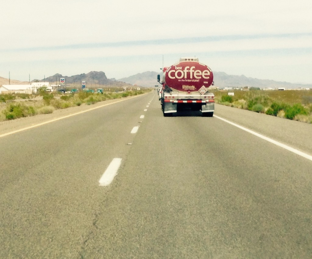 Coffee sign on a truck.