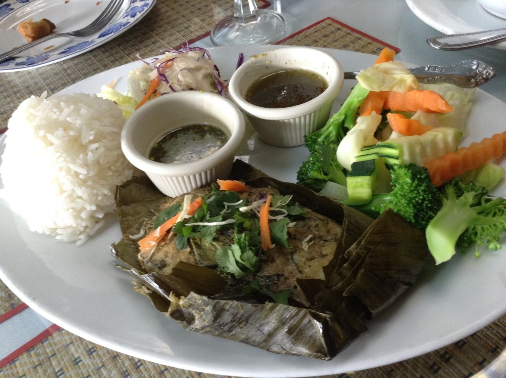 Thai catfish (in a banana leaf wrap) with jasmine rice at Thai Smile in San Rafael, one of 5 (+1) Northern California places to visit.