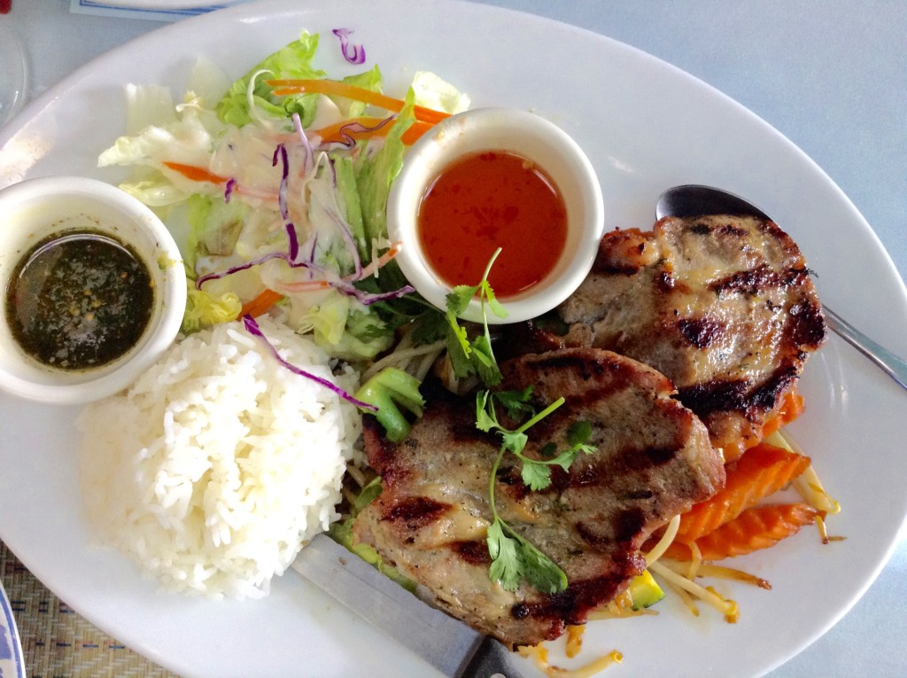 Thai pork chops with jasmine rice at Thai Smile in San Rafael, one of 5 (+1) Northern California places to visit.