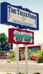The Truck Farm street sign helps you find AMAZING New Mexico sweet hot chile peppers and more!