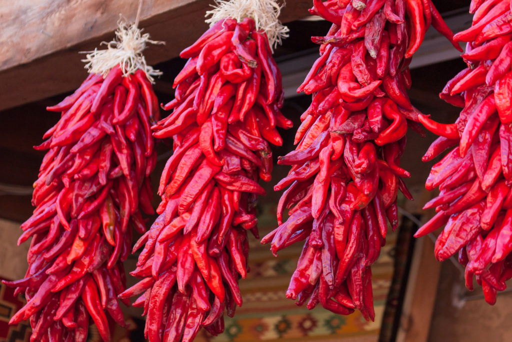 Chile makes New Mexico's world go round, like these Hanging Red Chile Peppers by tamifreed.