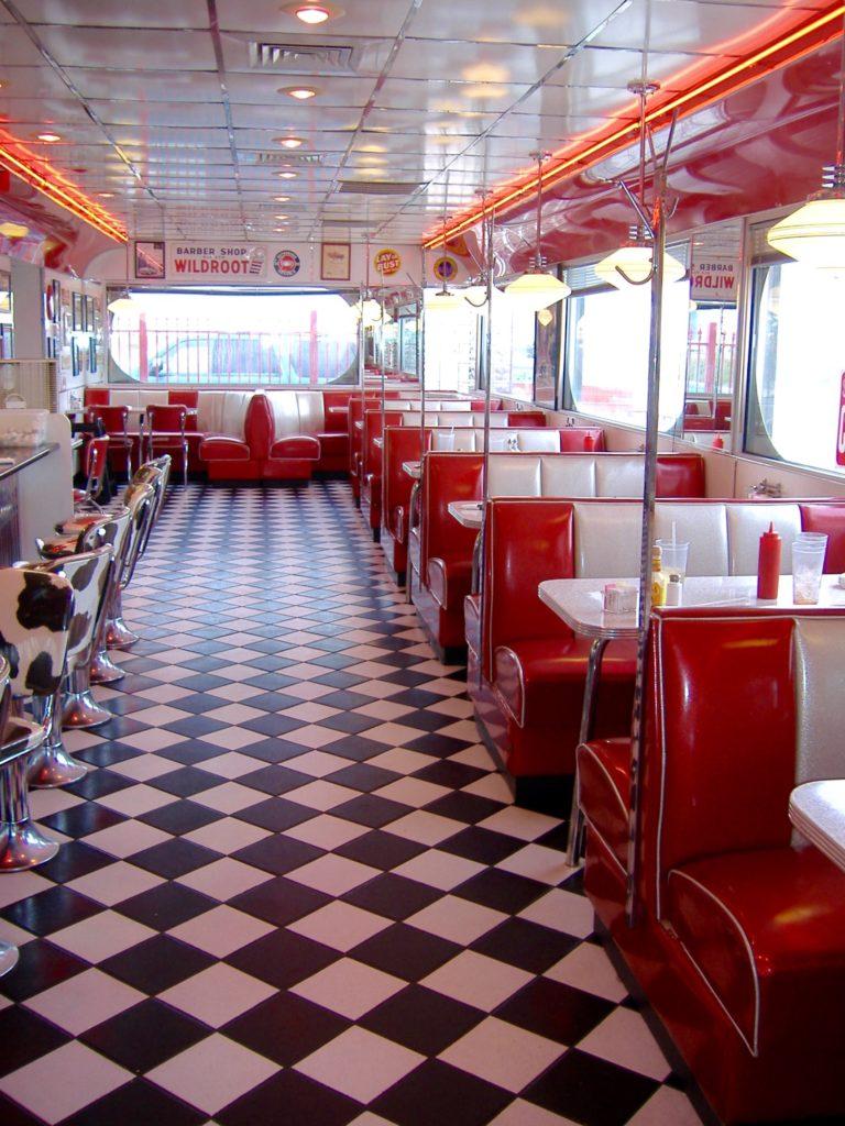 The I-70 Diner's classic 50's retro diner interior.