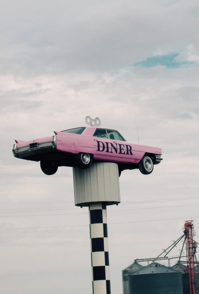 """""""Signpost"""" for I-70 Diner, a retro diner in Flagler, CO"""