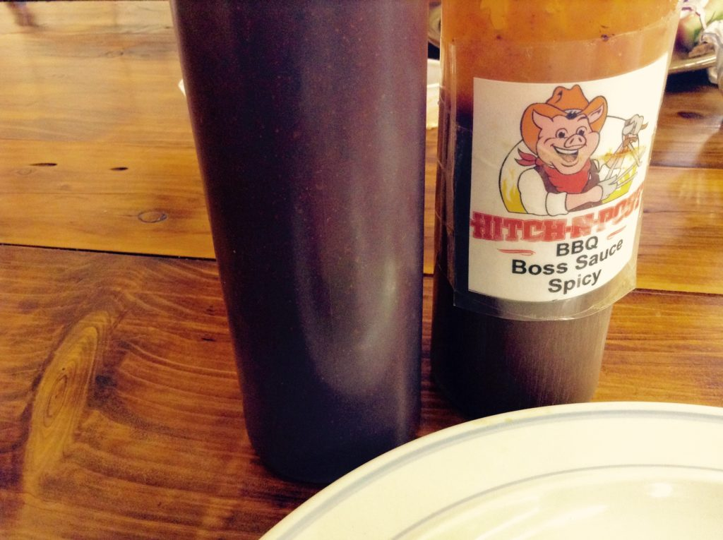 Mild and slightly spicy barbecue sauces at Hitch N Post (the Alamogordo Cowboy BBQ).