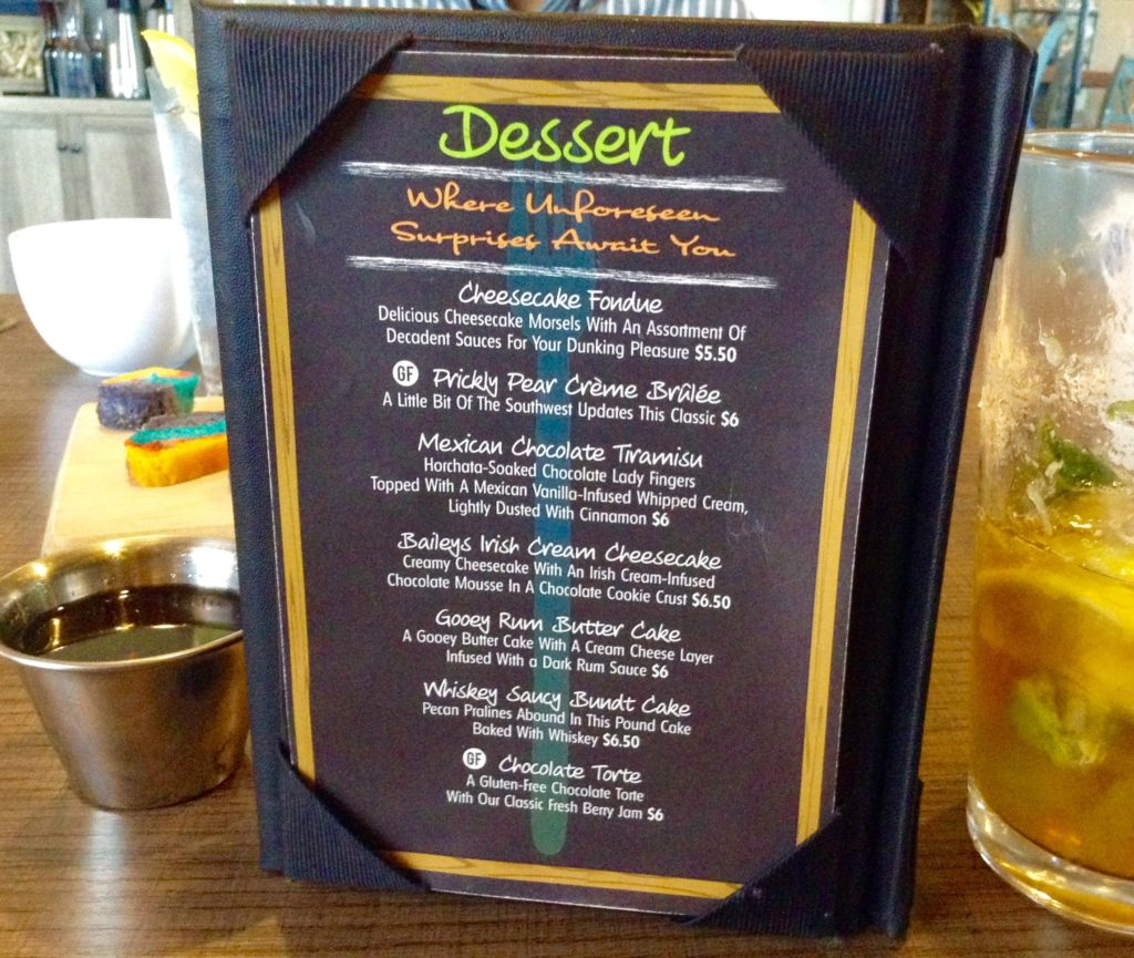 The Salud! de Mesilla dessert menu lists one unforeseen and delicious surprise after another.