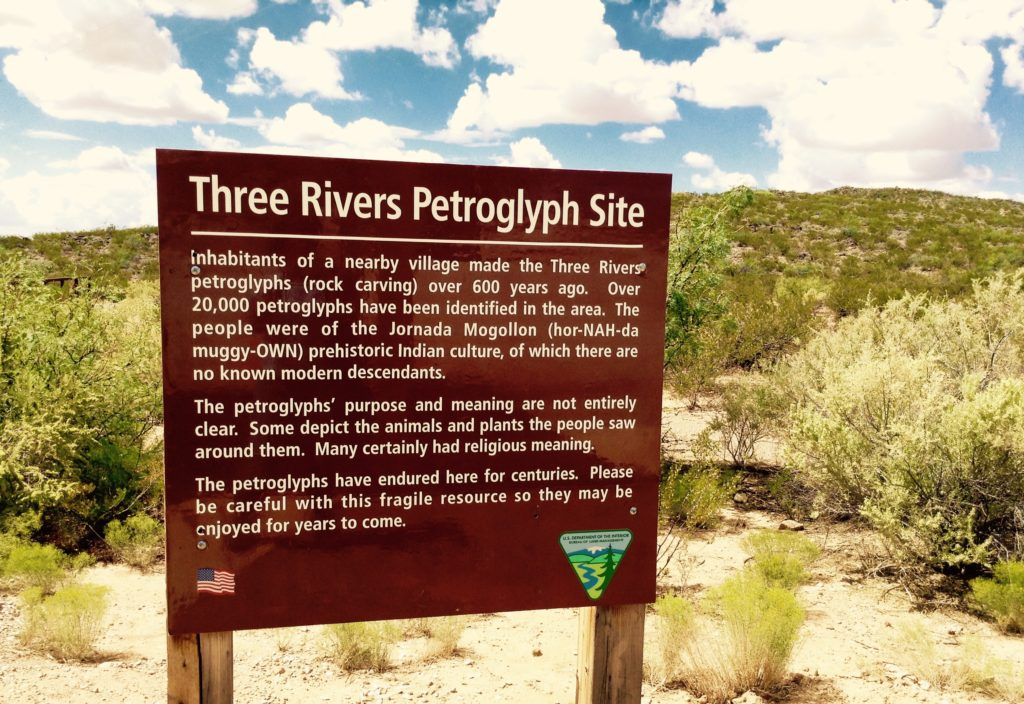 Trailhead sign describing the Mogollon, creators of the prehistoric rock art located on the Three Rivers Petroglyph Site.