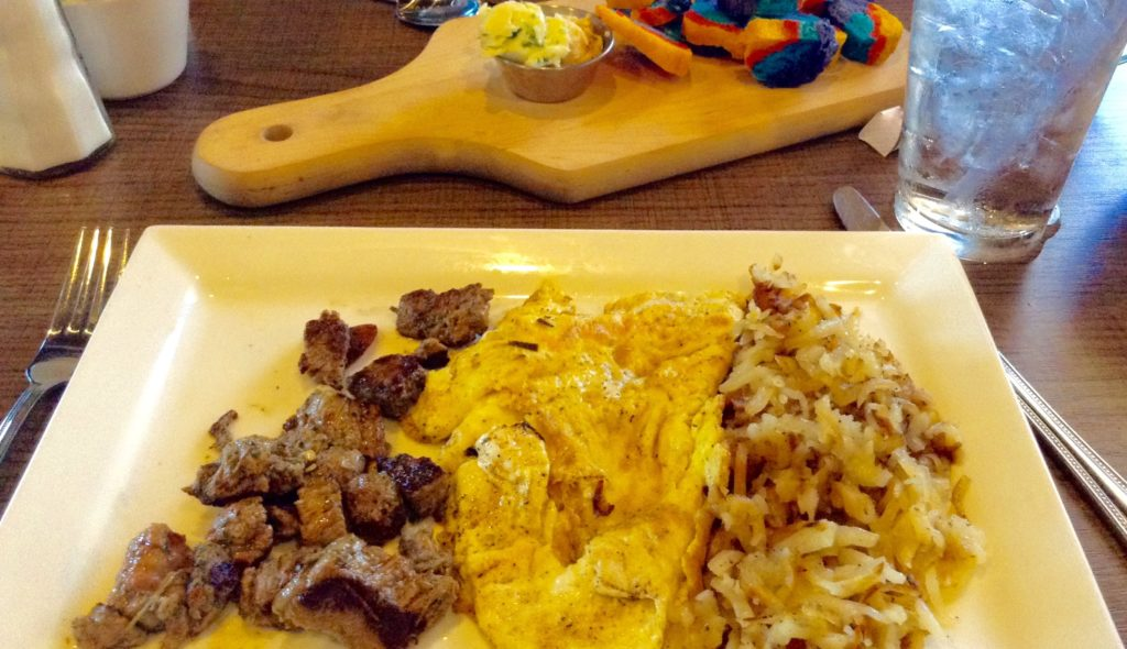 Steak and Eggs, a gluten-free and delicious surprise served at Salud! de Mesilla.