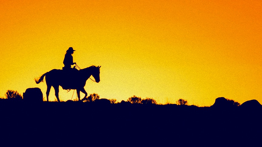 Cowboys at work are a sight you may come across in your Southwest travel; photo, Wyoming Cowboy-Silhouette, is by Damian Zech (modified).