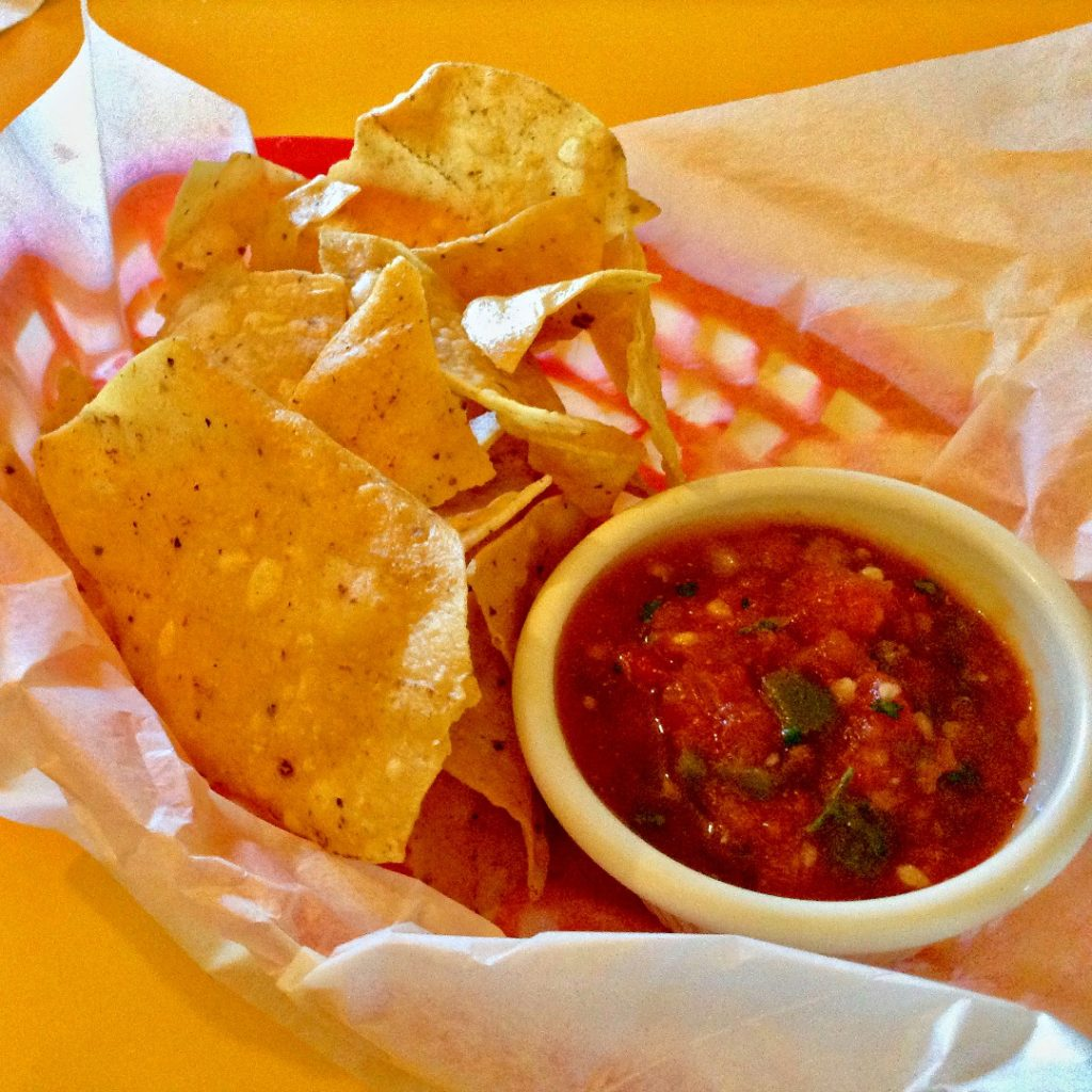 How a good Mexican meal begins at The Pepper Pot: with a basket of salsa and chips.