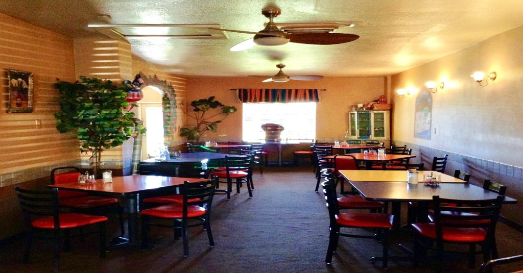 Dining room of The Pepper Pot, a good Mexican restaurant in Hatch, New Mexico.