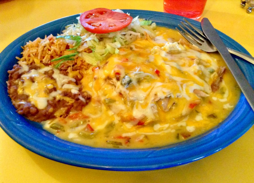 Green enchilada plate, one of the good Mexican dishes at The Pepper Pot in Hatch, New Mexico.