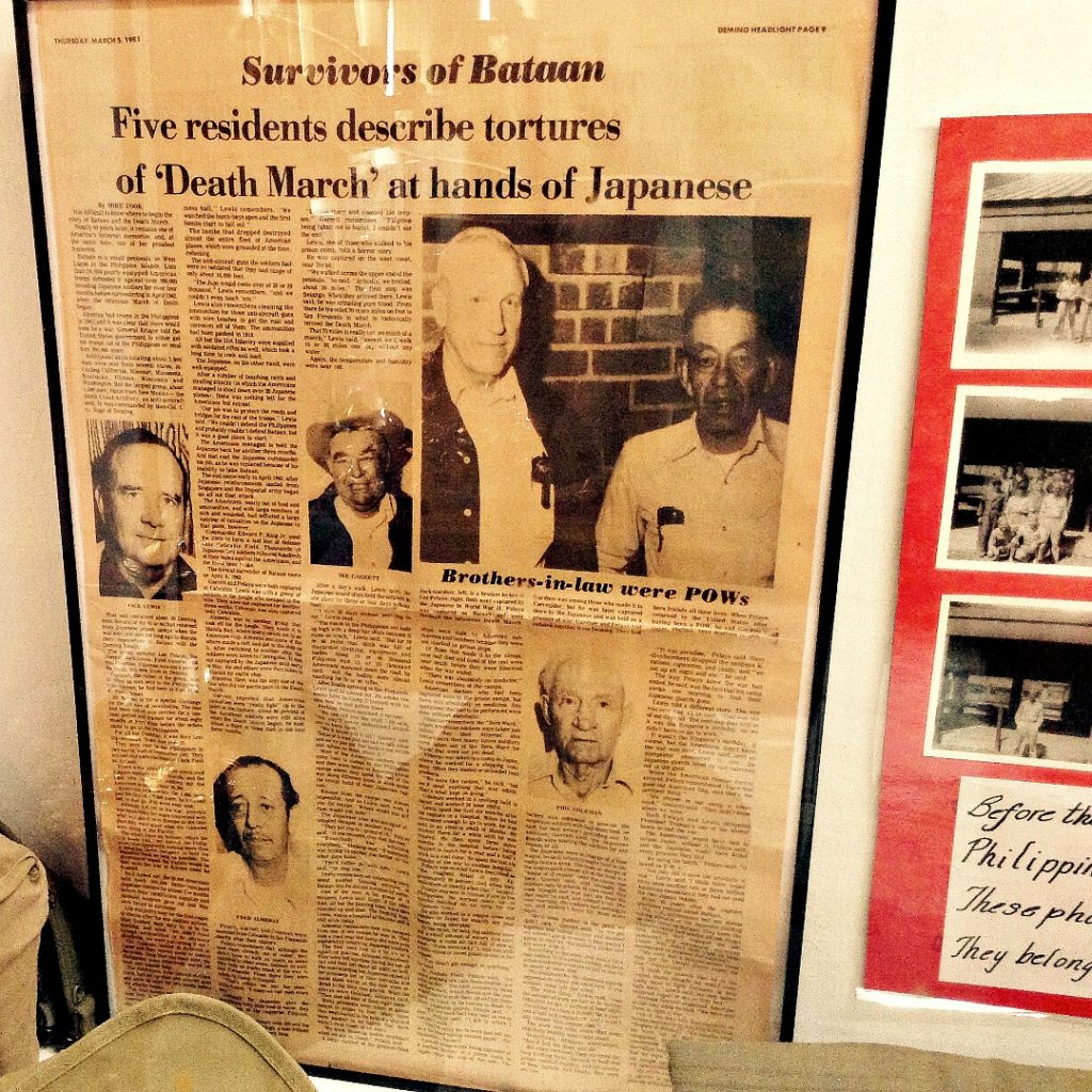 Newspaper clips featuring Bataan survivors are one of the first things you'll see on a Deming history tour.