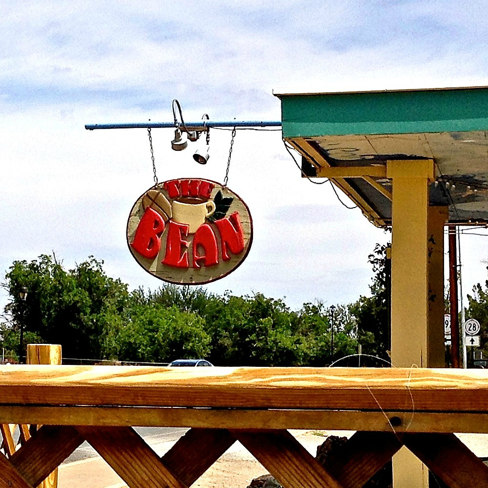 Beside the outdoor seating area at The Bean, a Mesilla, NM café where you can eat a Superbowl breakfast.